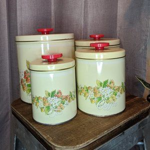 Pentron vintage 80s Strawberry kitchen canisters